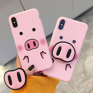 Funny Cartoon Pig With Nose Soft Back Phone Case For iPhone