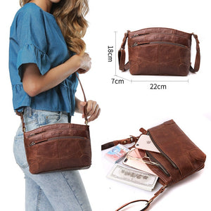 Multi Pockets Vintage Genuine Leather Shoulder Crossbody Bag - i-stylish mall