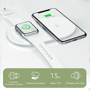 istylishmall -  Fast Wireless 2 in 1 Charger For iPhone X XS MAX XR, Apple Watch and Samsung Galaxy S8 S9 Plus