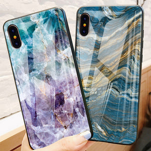Luxury Marble Glass Soft Edge Silicone Phone Case for iPhone X Xs Max XR