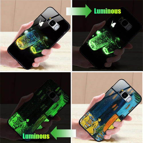 istylishmall - Beautiful Luminous Pattern Tempered Glass Case For Samsung S8 S9 Plus Note 9.