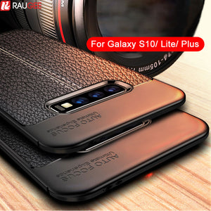 Silicone Bumper Leather Texture Back Case For Samsung Galaxy S10 Lite S10 Plus