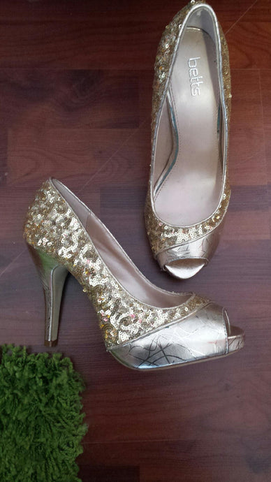 Gold /Silver High Heeled Peep-Toe Shoes