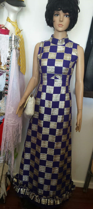 Stunning Vintage Purple Gold Check Maxi Dress