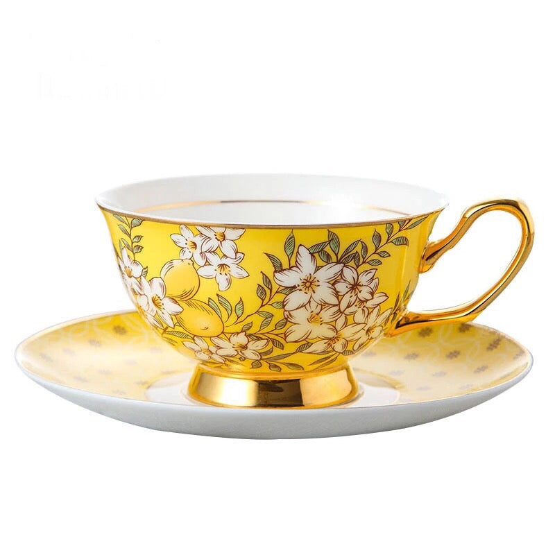 Yellow Paisley Coffee Tea Cup & Saucer