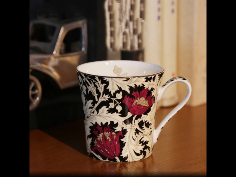 Black Rose Coffee Tea Mug with Spoon