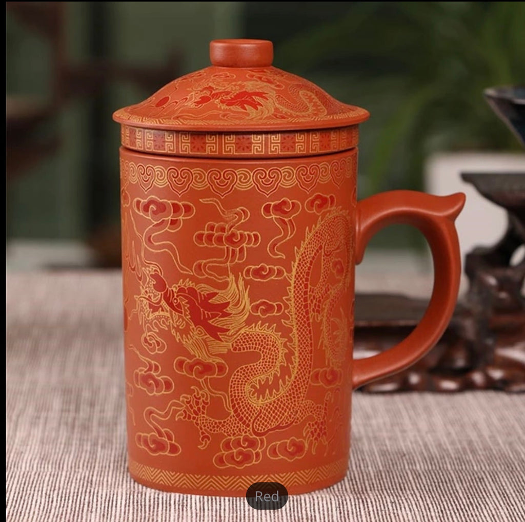 Fiery Dragon Red Clay Coffee Tea Mug with Infuser
