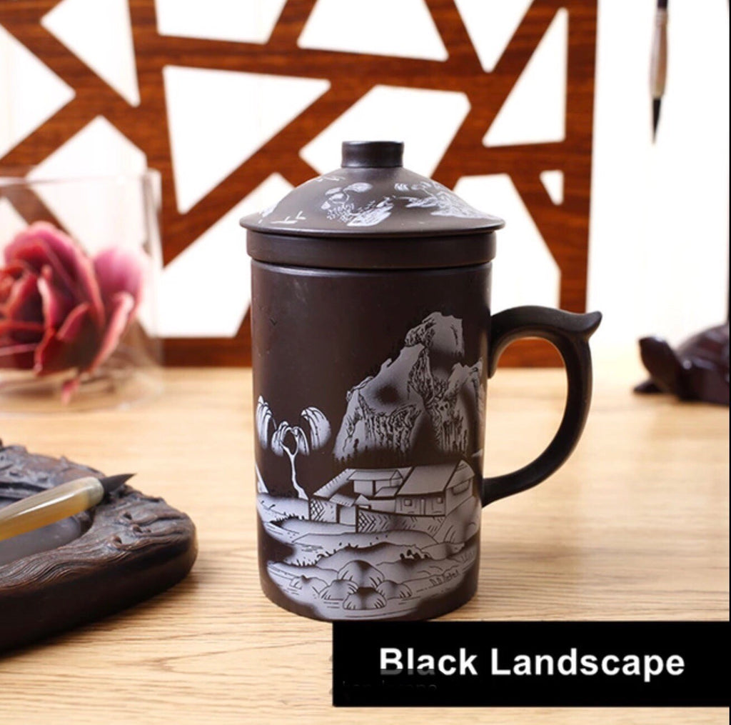 Glorious Landscape Clay Coffee Tea Mug with Infuser