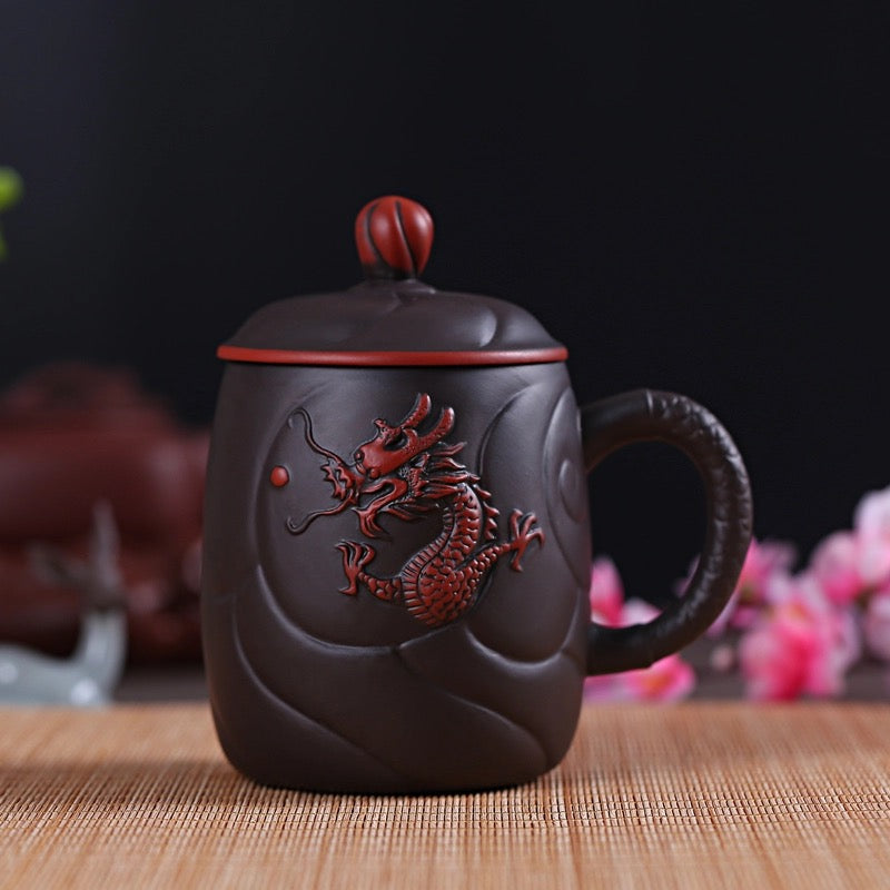 Ancient Chinese Dragon Red Clay Coffee Tea Mug with Infuser