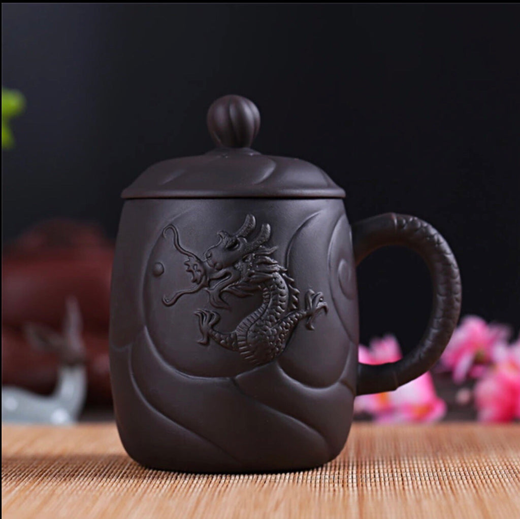 Black Chinese Dragon Clay Coffee Tea Mug with Infuser