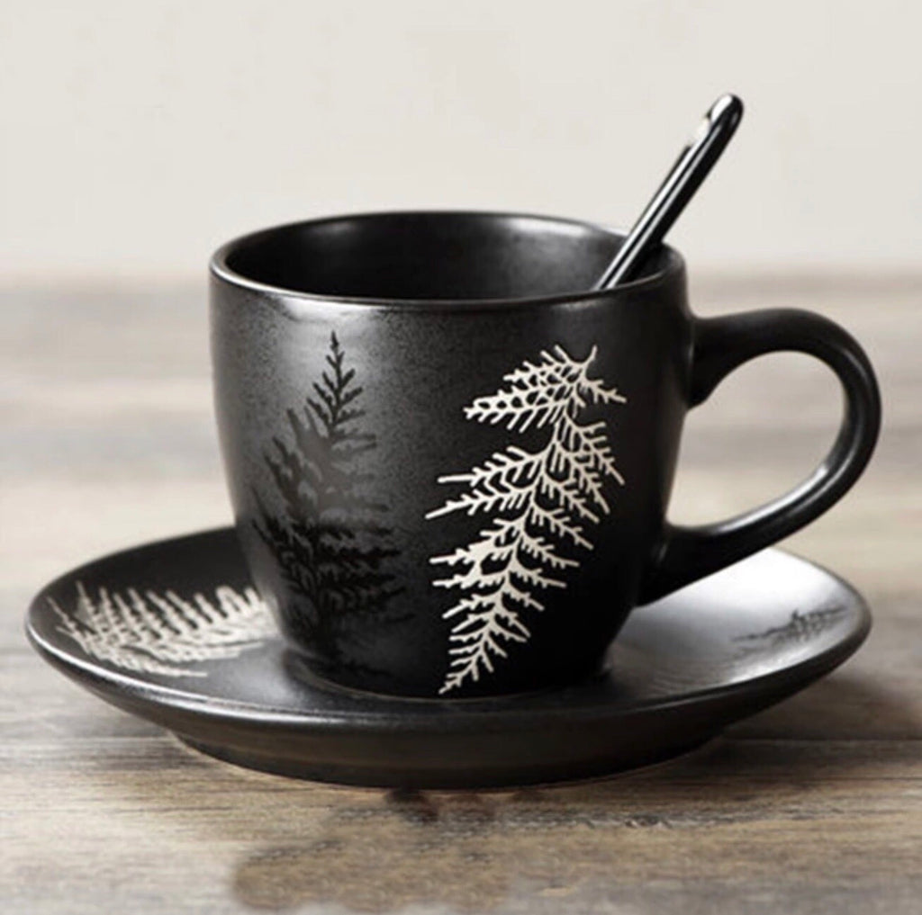 Japanese Fern Coffee Tea Cup & Saucer
