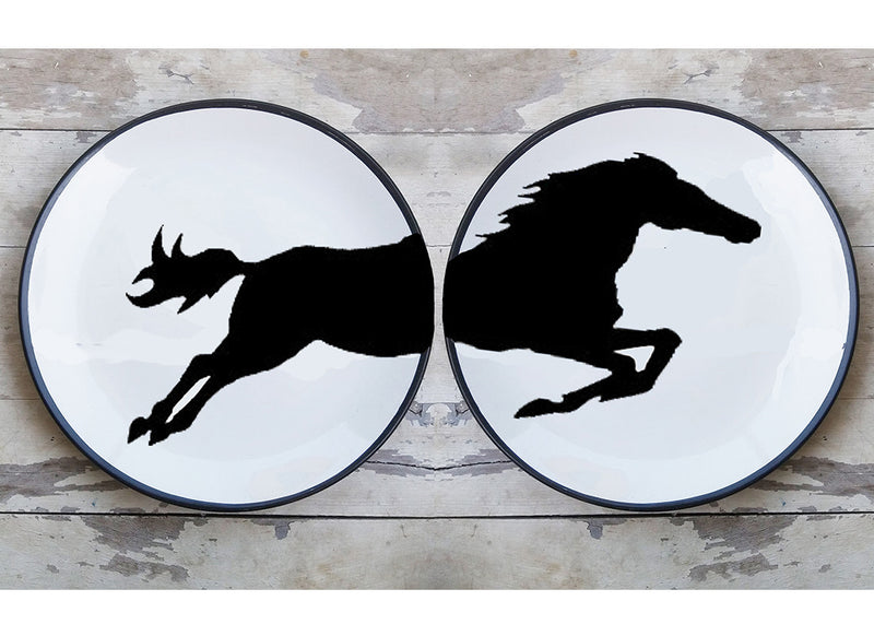 Black split horse design ceramic