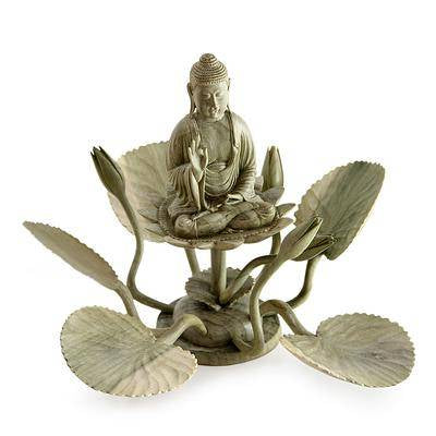 Handmade Natural Hibiscus Wood Buddha on Lotus