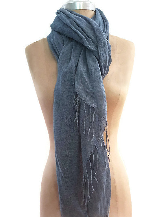 Cairo Blue Diamond 100% Pure Linen Scarf