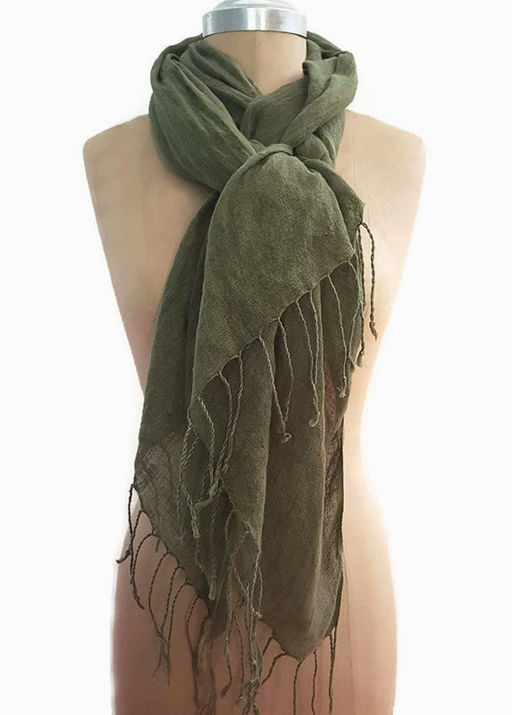 Cairo Hunter Green 100% Pure Linen Scarf