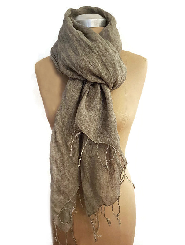 Cairo Jungle Moss 100% Pure Linen Scarf