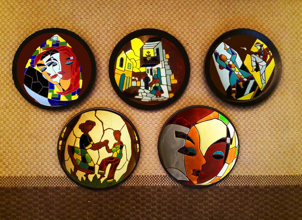 Contemporary Israel mosaic art wall hanging plates
