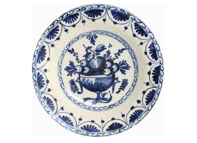 Decorative blue & white ceramic wall plate
