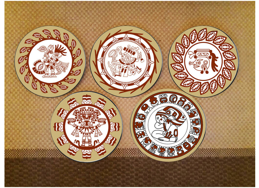 Decorative tribal design Inca art wall plates