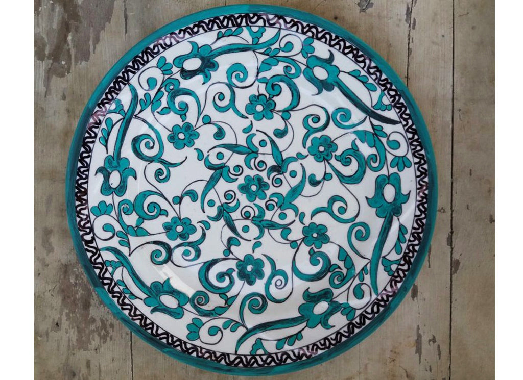 Emerald green floral Turkish wall plate