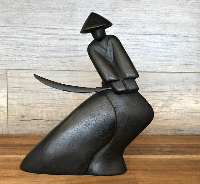 Handmade Wood Sculpture of an Attacking Samurai