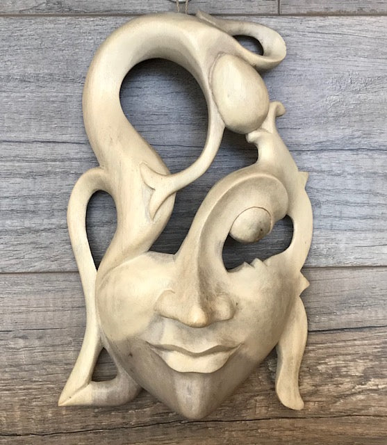 Handmade Modern Hibiscus Wood Mask of Woman