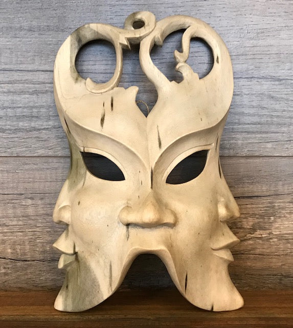 Three Directions Hibiscus Wood Mask Wall Hanging