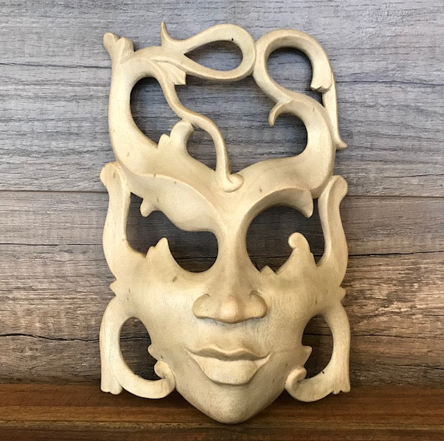 Enigmatic Woman Expression Hibiscus Wood Mask Wall Hanging