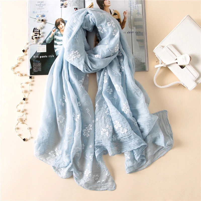 Sea Breeze Cotton Blend Scarf