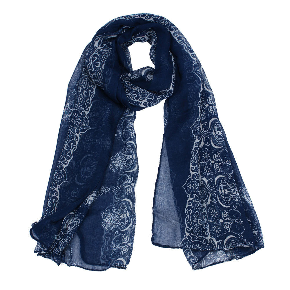 Arabian Nights Blue Cotton Scarf