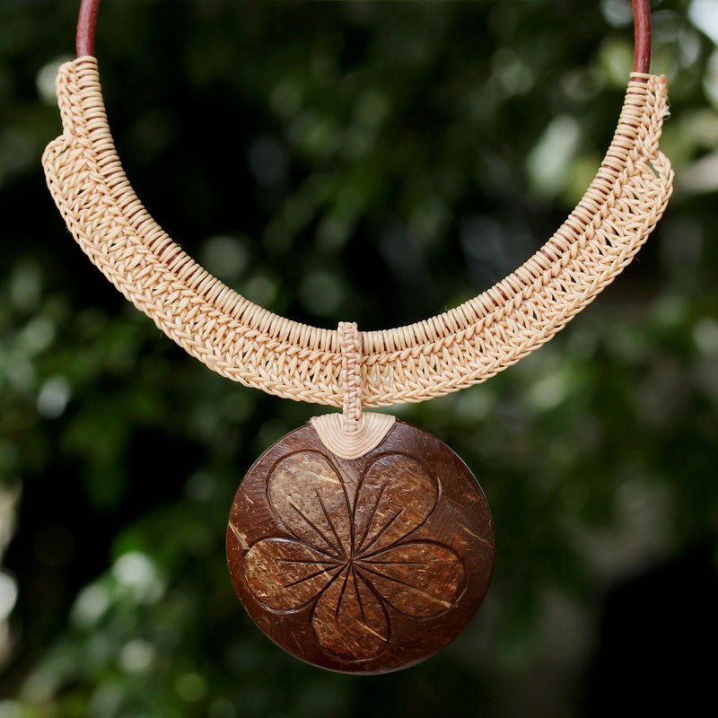 Rustic Frangipani Floral Necklace
