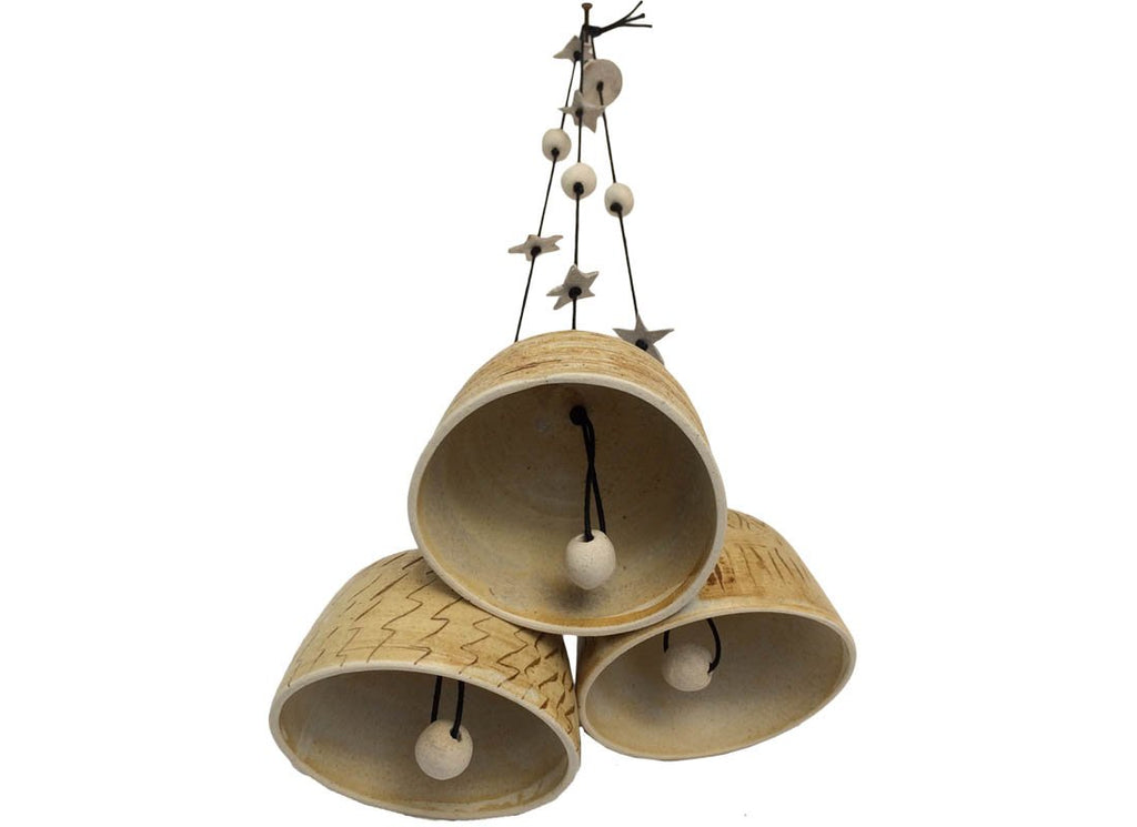 Handmade Carved Design Ceramic Bells Décor