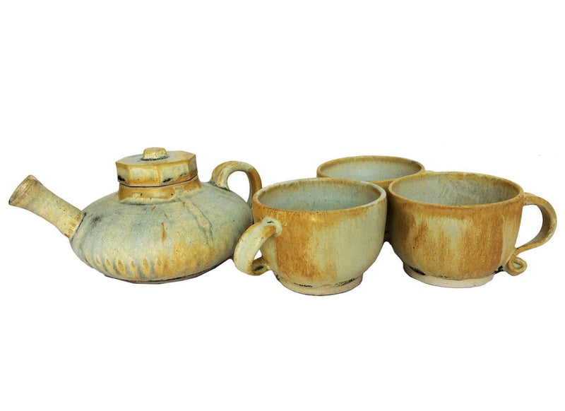 Antique Ceramic Kettle and Mug Set