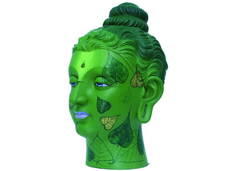Spiritual Green Buddha Head Sculpture