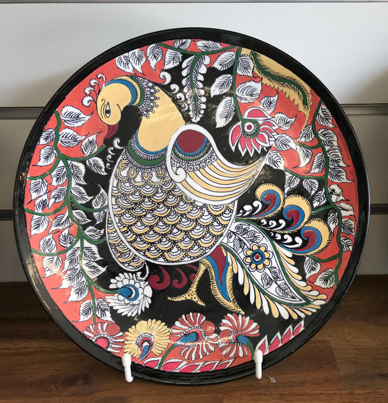Intricate Kalamkari Art Peacock Wall Decor Plate