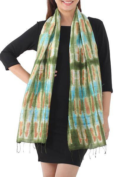 Tie Dye Green and Blue Scarf