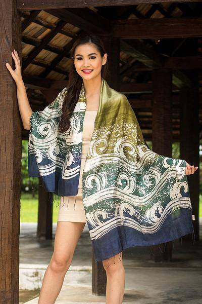 Thai Luxury Silk Batik Shawl Current