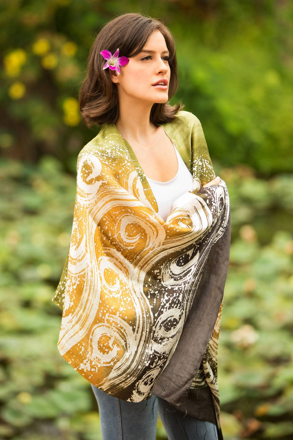 Handcrafted Thai Luxury Silk Batik Shawl Ocean