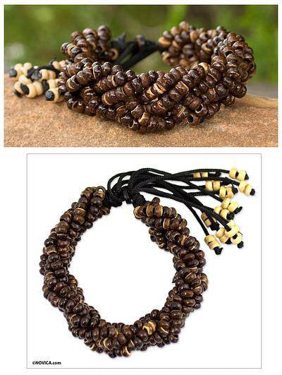 Coconut Shell Beaded Wristband Bracelet Brown Forest