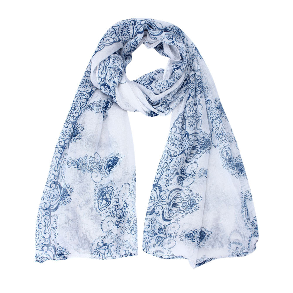 Arabian Nights White Cotton Scarf