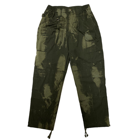 Green Hand Bleached Cargo Pants