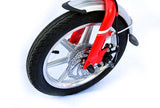 ebike 14INCH lange k1 ALUMINUM SUSPENSION FOLDING ELECTRIC BICYCLE- RED - edragonmall.com
