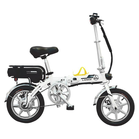 ebike 14INCH lange k1 ALUMINUM SUSPENSION FOLDING ELECTRIC BICYCLE-WHITE - edragonmall.com