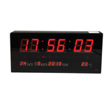 YX-3615 Large Oversized LED Wall Clock Seconds Date Day Indoor Temperature Adjustable Brightness Memory Function Adapter Included Decorative for Living Room Office Conference Room Bedroom (Red)