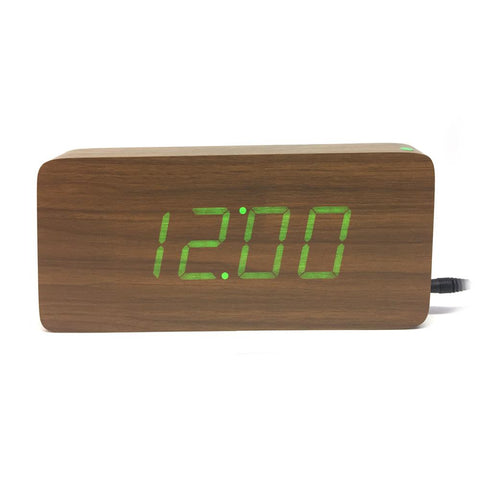 1292 Wood Alarm Clocks,Thermometer Wood LED Table Clocks with Sounds Control,Big Numbers Digital Clock Bamboo-Green