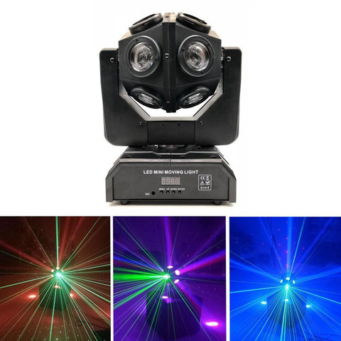 12pcs X 10W LED Super Beam Mini Moving Head light Double Ball Football Light RGBW Color For KTV bar, art bar,Di bar, stage