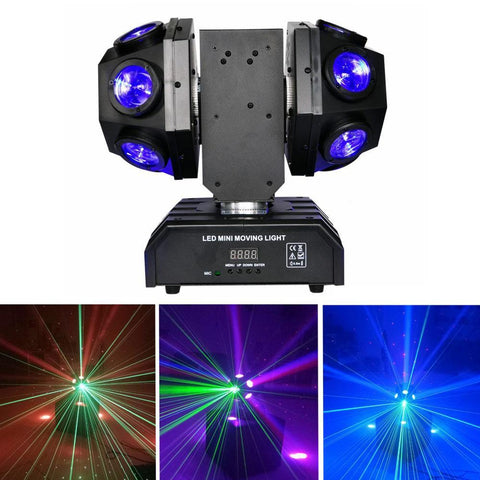 12pcs X 10W LED Super Beam Mini Moving Head light Double Ball Football Light RGBW Color For KTV bar, art bar,Di bar, stage-2