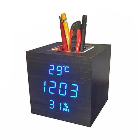 Wooden Cube Electronic Clock, Multifunction Alarm Clock with Light and Stand for Pens -vst-878s