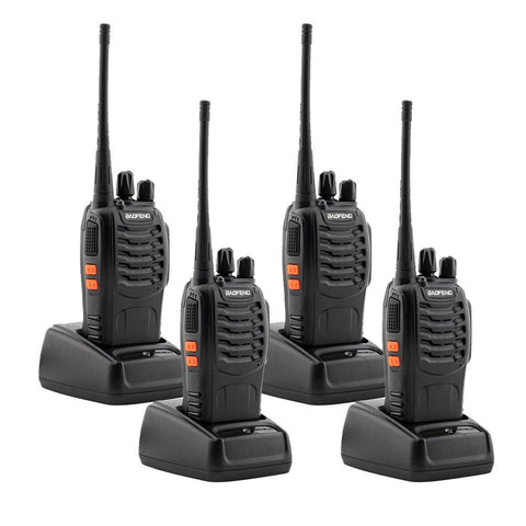 4 Pcs Walkie Talkies BF-888S Baofeng Handheld Two Way Radios Battery and Charger