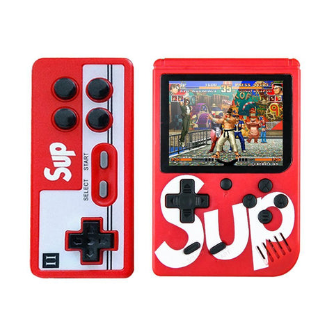 Sup Game Box 400 in 1 Plus Gaming console Double gaming machine 3 inch Retro game Gaming console Classic FC USB charging Birthday gift for kids - red